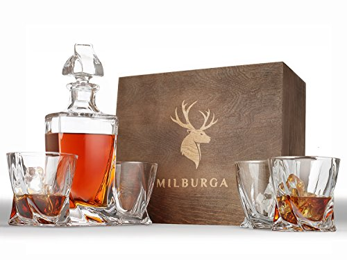 Premium Quality 5-Piece Whiskey Decanter Set and 4 Glasses in Exquisite Hand...