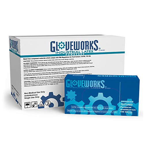 GLOVEWORKS Industrial White Latex Gloves - 4 mil, Powdered, Textured, Disposable, Large, TL46100, Case of 1000