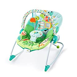 Seat can rock back and forth to soothe, or can be set to a fixed position for small babies and older toddlers Full body recline with 2 positions Soothing vibrations Toy bar with 2 interactive toys removes for easy access to baby Rear kickstand stabil...