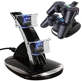Aleesh Fast Dual Charger with USB LED Dock Station Charging Stand for Playstation 4 for PS4 Controller