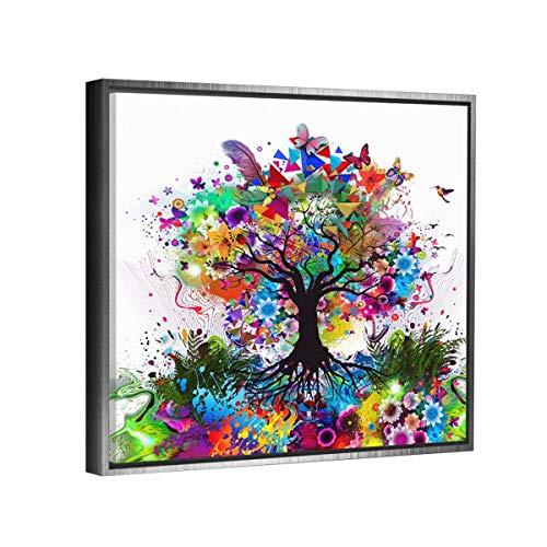 Cuadro decorativo en lienzo canvas artistíco, Arbol de la Vida de Colores Abstracto Moderno, montado en bastidor de madera con marco color plata flotante Premium de 5cm de profundidad estilo galería disponible en diferentes medidas (70x70cm)