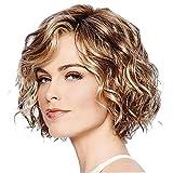 1PC Capelli mossi Bob parrucche misto sintetico marrone Colore Corti ondulati parrucca riccia sembrante naturale parrucca termoresistente capelli della fibra per le donne Ragazze