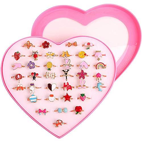ZoneYan Kinderringe Mädchen, Kinder Ringe Set, 36 Stück Einstellbare Ringe funkeln mit Herzform Vitrine, Verstellbare Bunte Fingerringe Prinzessin Schmuck Fingerringe