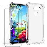 HYMY Funda para LG K40S Smartphone + 2 x Cristal Templado - Transparente Tapa TPU Silicona [Refuerzo...