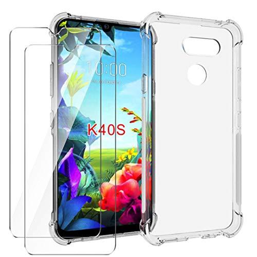 HYMY Hülle für LG K40S Smartphone + 2 x Schutzfolie Panzerglas -Transparent Erdbebenresistenz Schutzhülle TPU Handytasche Tasche Verstärkung an Vier Ecken Hülle für LG K40S (6.1