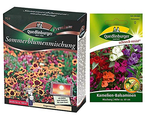 Sommerblumenmischung | Blumenwiese| 1x Kamelien-Balsaminen kostenlos (schneckenresistent)