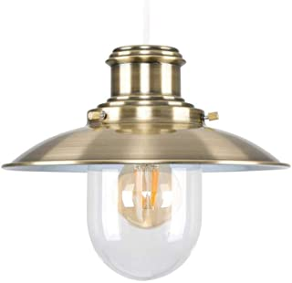 Ceiling Lights Lamps Chandeliers Pendant Light Fixtures Antique Brassed Effect Metal and Glass Fisherman's Vintage Style Steampunk Lantern Easy Fit Ceiling Lamp Pendant for Bedroom Living Room Kitche