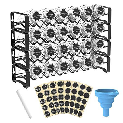 Spice Rack Organizador con 24 botes de especias cuadrados, etiquetas de especias con marcador de tiza y embudo completo para encimera, armario o soporte de pared