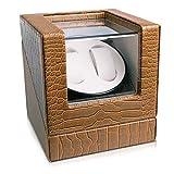 Navaris Uhrenbeweger in Kunstleder Optik - für 2 Automatikuhren - 20x18x18cm - 4 Modi Uhren Beweger Uhrenbox mit Netzteil - Uhrendreher Braun