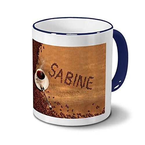 printplanet Tasse mit Namen Sabine - Motiv Kaffeebohnen - Namenstasse, Kaffeebecher, Mug, Becher, Kaffeetasse - Farbe Blau