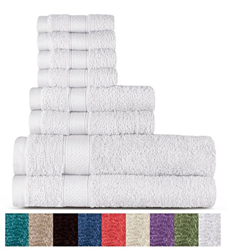100% Cotton 8 Piece Towel Set (White); 2 Bath Towels, 2 Hand Towels and 4 Washcloths, Machine Washable, Super Soft by WELHOME