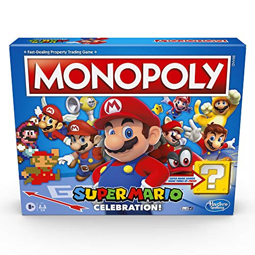 Monopoly Super Mario Celebration Edition Board Game for Super Mario Fans for Ages 8 and Up, With Video Game Sound Effects