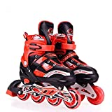 Gikvni Inline Skates Size Adjustable All PU Wheels with Aluminum-Alloy, Age Group 6-14