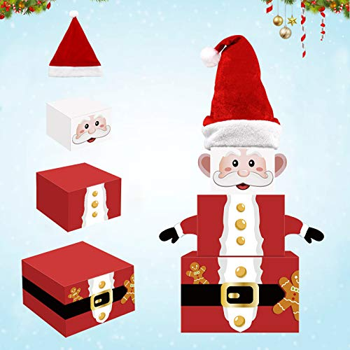 Christmas Santa Gift Boxes Xmas Holiday Indoor Decorations Tower Nesting Present Boxes for Christmas Tree Home Office Table Kicthen Decorations Winter Festive Birthday Supplies