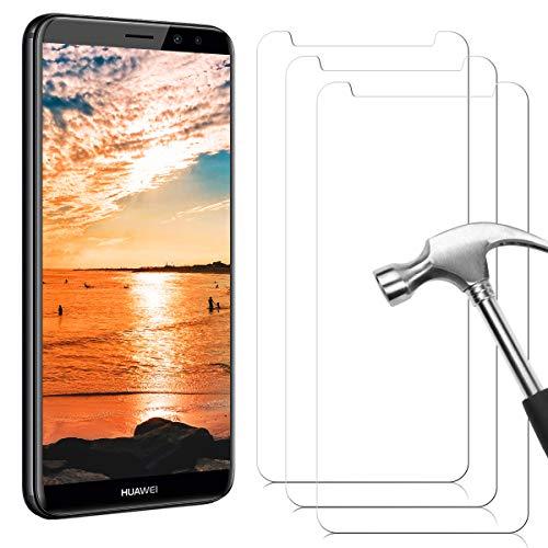 NONZERS Protector de Pantalla de Cristal blindado, 3 Unidades, para Huawei Mate 10 Lite, dureza 9H, antiaceite, antiarañazos, sin Burbujas, 0,33 mm, Transparente