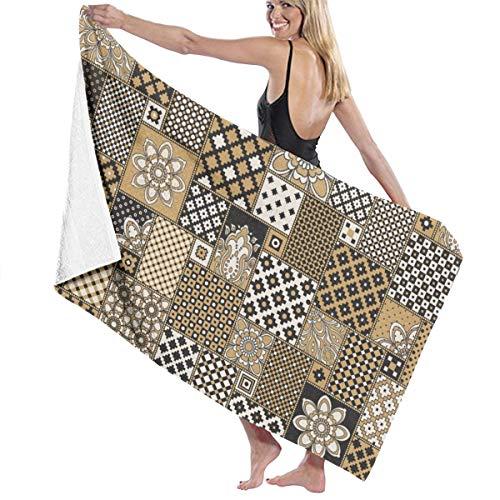 Gold Light Oosterse Ornament Borduren Utopia Handdoeken Snelle Droge Microvezel Badhanddoek Zwembad Gym Handdoeken Hotel Kwaliteit Voor Unisex Op maat