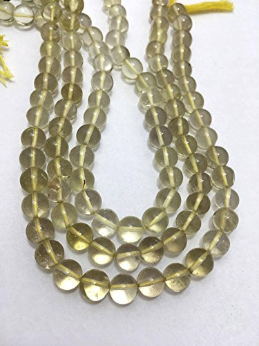 13 inch Strand of Natural Lemon Topaz Round Shape Smooth Cut 6mm Beads for DIY Jewelry Making. Necklace, Earring, Bracelet Crafts.