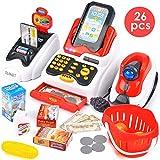 Buyger 26 Pezzi Registratore di Cassa Elettronico Supermercato Giocattolo con Scanner per Bambini con Luci e Suoni (Rosso)