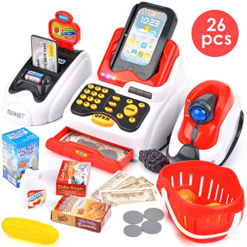 Buyger 26 pièces Jouet Caisse Enregistreuse Supermarche Commerçant Enfants, Jeux d'imitation, électronique,...