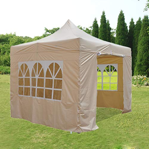 Zhyaj 3M Gazebo with Side Panels - 100% Waterproof Marquee Tent with 2 Windows, Large Marquee Shelter for Patio, Backyard, Beige