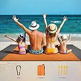 SKYSPER Alfombras de Playa 210 x 200 cm Manta de Picnic Impermeable con 6 Estacas Manta de Playa Plegable Portátil Ligero Impermeable para Playa Acampar Picnic Viajes Senderismo al Aire Libre