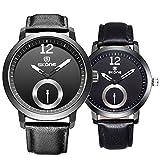 Astarsport - Relojes de pulsera, 2 unidades a juego, correa de cuero, para hombre y mujer, regalo para San Valentín