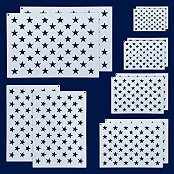 12 Pieces American Flag 50 Star Stencil Templates 6 Sizes American Flag Templates Ideal for DIY Crafts Design Independence Day Project American Flag Projects