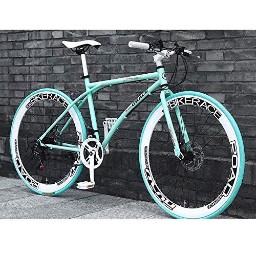 LWJPP 26 Pulgadas de Ruedas City Road Dual de suspensión de Bicicleta de montaña de Doble Freno de Disco de Acero de Alto Carbono MTB Bicicletas por la Calle Camino de la Bici (Color : A)