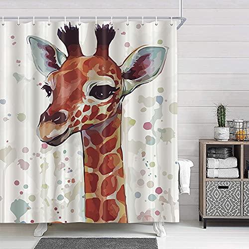 Funny Animal Giraffe Kids Shower Curtain for Bathroom,Colorful Cute Giraffe Watercolor Dot Fabric Shower Curtains Set,Polyester Fabric Bathroom Accessories with Hooks, Cartoon Grey Bath Curtains, 70in