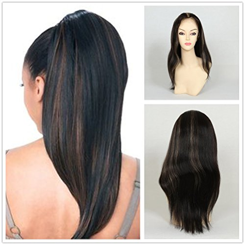 Wigsroyal Natural Looking Light Indian Yaki Full Lace Wig Best Remy Human Hair Wigs For African Americans 120% Density 16 Inches 1b/27# Highlights