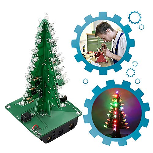 IS ICStation DIY Christmas Tree 3D Xmas Soldering Practice Electronic Assemble Kit Project for Student Teens 7 Colors Flashing LED PCB Solder