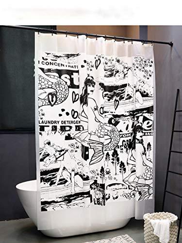 Badkamer Douchegordijn,3D Digitaal Printen Douchegordijn,Custom Douchegordijn Set,Stijlvol Modern Douchegordijn,1.8 Breedte * Hoogte 2.0M, Zeemeermin Patroon Douchegordijn