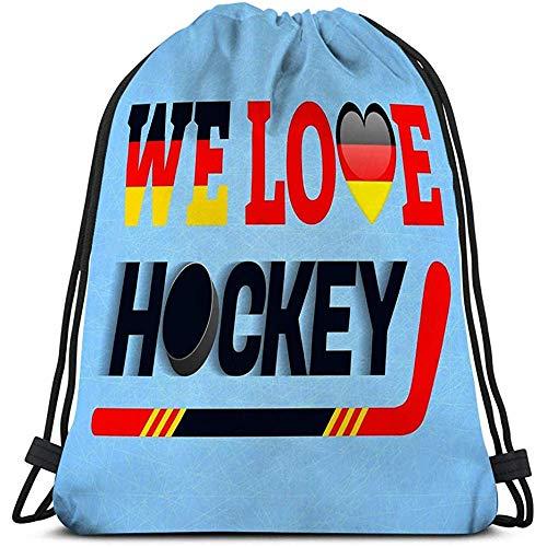 Arvolas Kordelzug Sporttasche Rucksack Deutsch Eishockey Deutschland Liebe Poster Herzsymbol Traditionelle germanische Farben Gute Idee