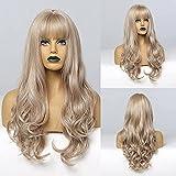 Pelucas largasy rizadas de HAIRCUBE, pelucas de pelo sintético rubio claro para mujeres, pelucas...