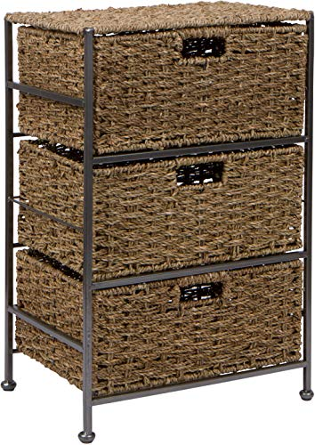 Trademark Innovations 24' Seagrass and Metal 3-Drawer Storage Chest