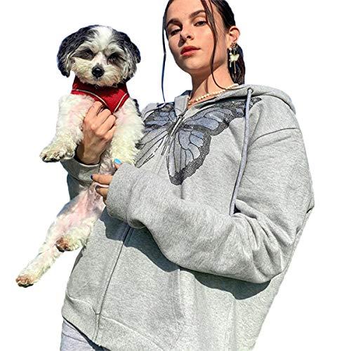 ADYD Sudadera con capucha con estampado de mariposa para mujer, color sólido, manga larga, con bolsillos, gris, S