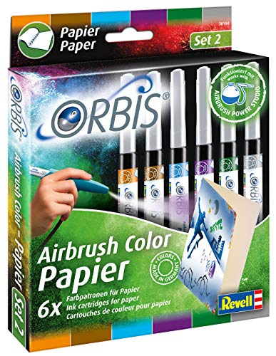 Orbis 30104 Papierpatronen, 6er Pack (Farben: orange, braun, lila, hellblau, dunkelgrün, grau) Kinder und Allen Anderen Kreativen, Zubehör für das Airbrush Power Studio 30020, Mehrfarbig