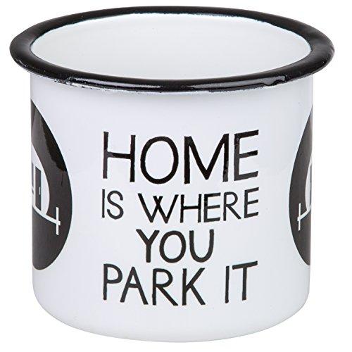 Home is Where You Park IT - Hochwertiger Emaille Becher mit Wohnwagen Motiv - leicht und bruchsicher, für Camping, Camper und Outdoor Activities- von MUGSY.de