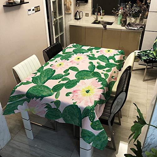 MMHJS Le Tapis De Table d'impression Numérique De Cactus De Nappe Imperméable Et Anti-Brûlure en Polyester Moderne Et Simple Peut Être Utilisé pour Plusieurs Nappes