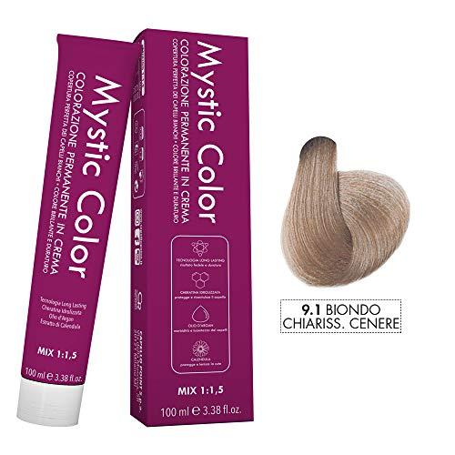 Mystic Color - Crème Colorante Permanente à l'Huile d'Argan et au Calendula - Coloration Longue Durée - Couleur Blond Cendré très Clair 9.1 - 100ml
