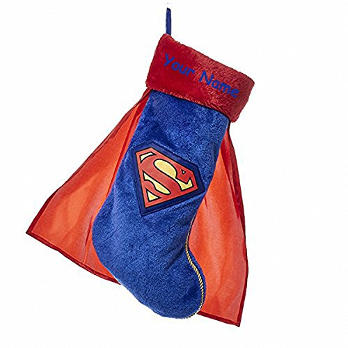 KA Personalized Superman Christmas Stocking with Cape and Name - 19 Inches