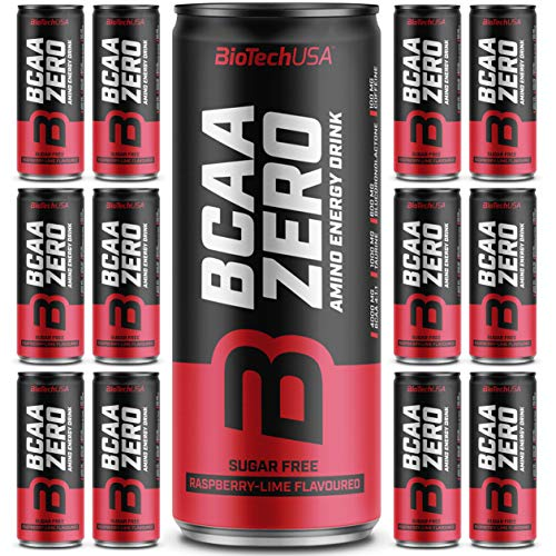 BioTech USA BCAA Zero Amino Energy Drink - Himbeere-Limette 24 x 330ml + 25g. Whey Beutel
