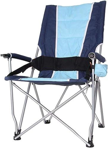 WZLDP Portable Chaise Pliante en Plein air Haute Chaise de pêche de Retour Pliant Tabouret Barbecue Chaise de Plage Conduite Autonome Chaise de Salle à Manger (Couleur   bleu)