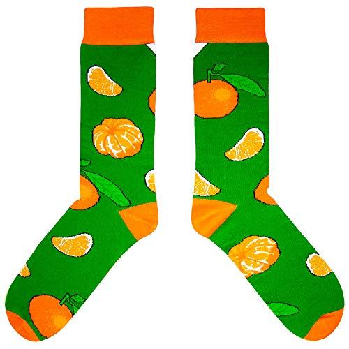 CUP OF SOX Damen Herren Lustige Socken mit Weihnachtsmotiven Mandarinen in der Pappbecher, Bunte Geschenksocken für Männer & Frauen, 41-44, Grün