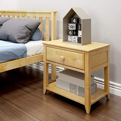 Max & Lily Solid Wood Nightstand, Natural