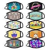 Hanomes 5/10 PC Erwachsene Mundschutz Multifunktionstuch,Waschbar Mit Ostern Bunt Motiv,Weiche Staubdicht Atmungsaktive Vlies Mund-Nasenschutz Bandana Halstuch