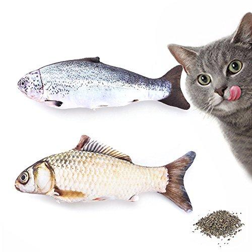 Petilleur 2Pcs Fisch Spielzeug für Katzen mit Katzenminze Innen Katzenspielzeug in Fischform