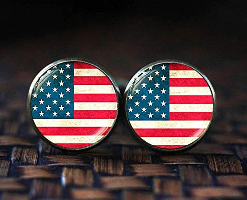 Bloody devil Manschettenknöpfe mit amerikanischer Flagge, Sterne und Streifen, patriotische Manschettenknöpfe