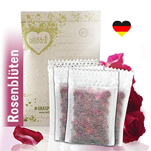 BELFLORA Rosen Duftsäckchen Rose 6 x Rosenblütensäckchen - Rosenblätter Duftkissen