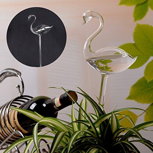 Auntwhale Automatische Bewässerungsvorrichtung 1 Stück Glas Bewässerungsblume Gerät Bewässerung Blume Werkzeuge Einfaches Blumentopf-Gerät Flamingo-Form